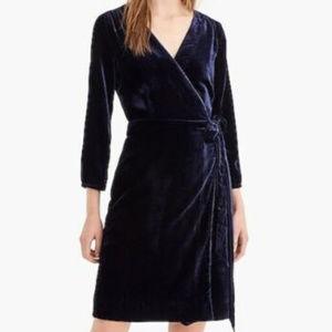NWT J. CREW Drapey Velvet Wrap Dress